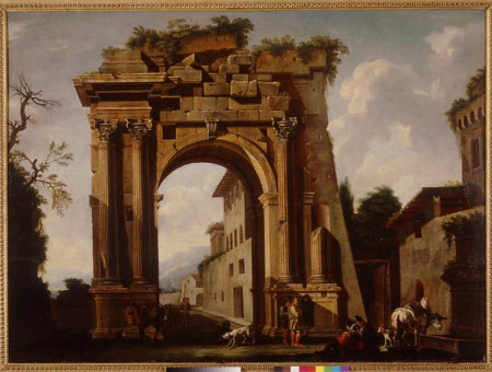 Architectural Capriccio with the Arch of Titus and the Figures of Travellers
