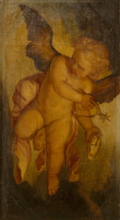 Cupid carrying a Spur and a Clock