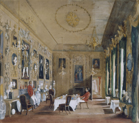 The Carved Room, Petworth House, around 1865: George Wyndham, 1st Lord Leconfield (1787-1869) and ...