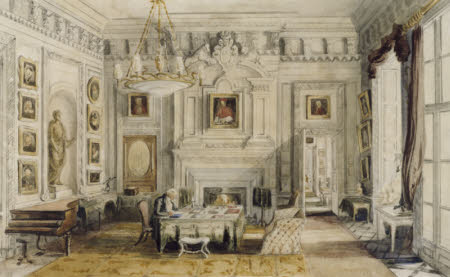 The Marble Hall, Petworth, George Wyndham, 1st Lord Leconfield (1787-1869) seated at his Desk
