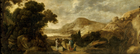 Extensive Woody Landscape with Gypsies telling a Gentleman's Fortune