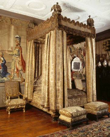 The Royal State Bed & suite of furniture in the King's Room at Knole, photo taken prior to the conservation project at Knole that started in 2014 © National Trust Images/Nadia Mackenzie