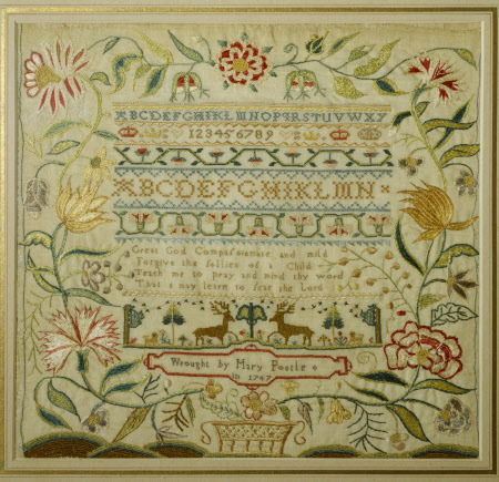 Rows of Alphabets, Numerals, repeating Border Patterns and Verses, surrounded by a Border of ...
