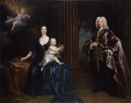 Sir Nathaniel Curzon, 4th Baronet Curzon (1676-1758) with his Wife, Mary Assheton, Lady Curzon ...