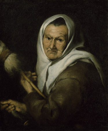 An Old Woman holding a Distaff and a Spindle