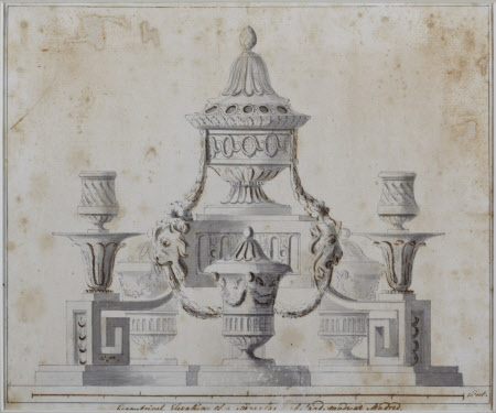 'Geometrical elevation of a Silver Gilt Inkstand made in Madrid'
