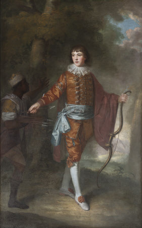 John Delaval (1756 - 1775) as a Boy with a Bow and a Black Page with Silver-tipped Arrows, in a ...