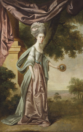 Sophia Anne Delaval, Mrs John Jadis (1755 - 1793), holding a 'Claude glass' or 'landscape mirror' ...