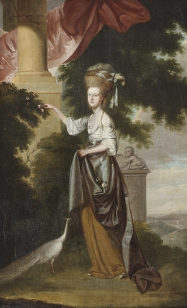 Sarah Delaval, Countess of Tyrconnel (1763 - 1800) with a White Peahen, in a Landscape