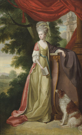 Elizabeth Delaval, Lady Audley (1757 - 1785), holding a book, with a water-spaniel, in a landscape