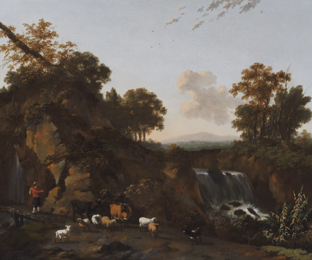 Landscape with Waterfalls, Cowherd, Sheep, Goats and Cattle
