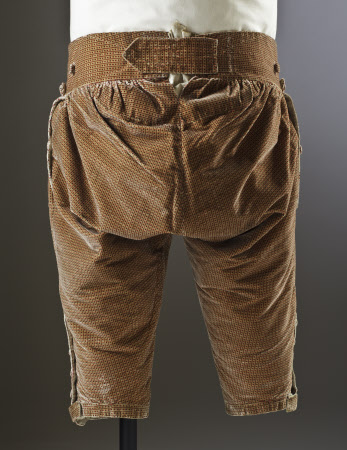 Breeches back view of a man's silk velvet suit, c.1770, part of the costume collection at Ham House, Surrey.